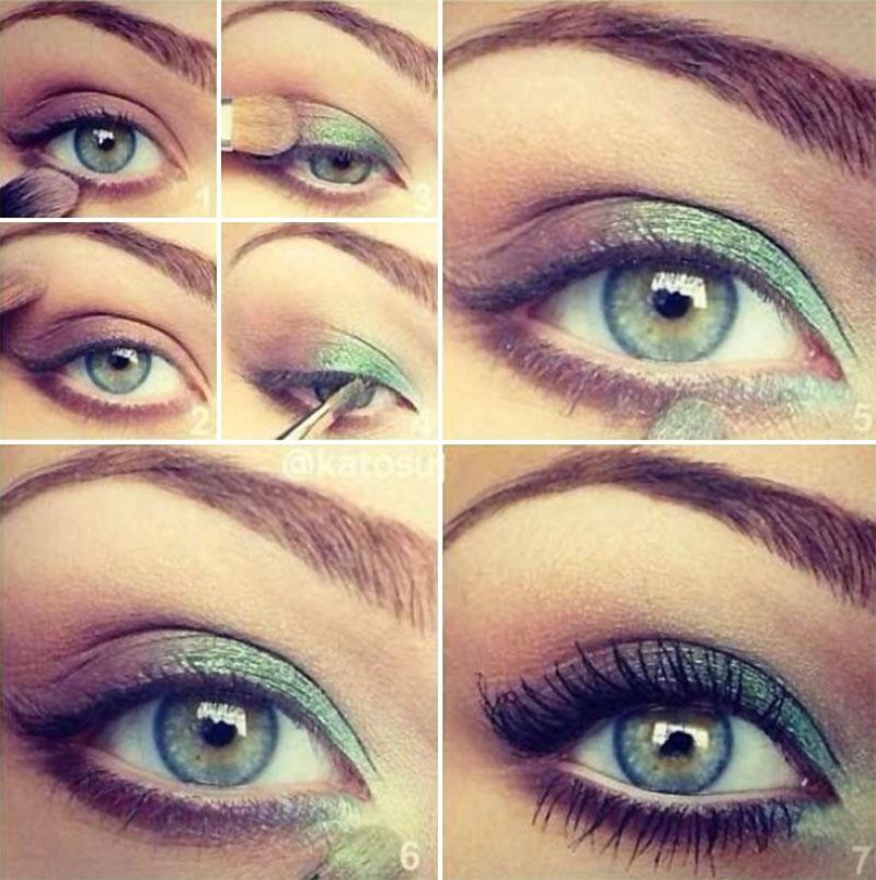 Идеи макияжа для зеленых глаз поэтапно