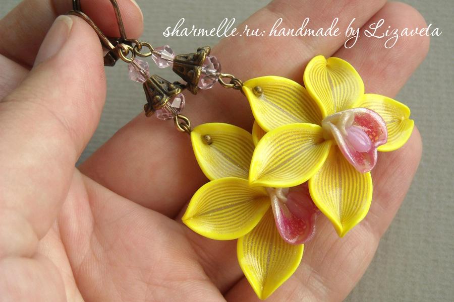 Серьги-Орхидеи из полимерной глины