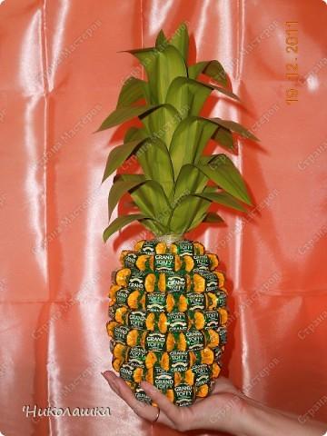 Увидела однажды в интернете ананас из конфет и заболела! Стала интересоваться как это делается, и что это за техника и что еще можно сотворить из конфет.Оказалось, что это свит-дизайн, который покорил и захлестнул меня всецело! . Фото 1