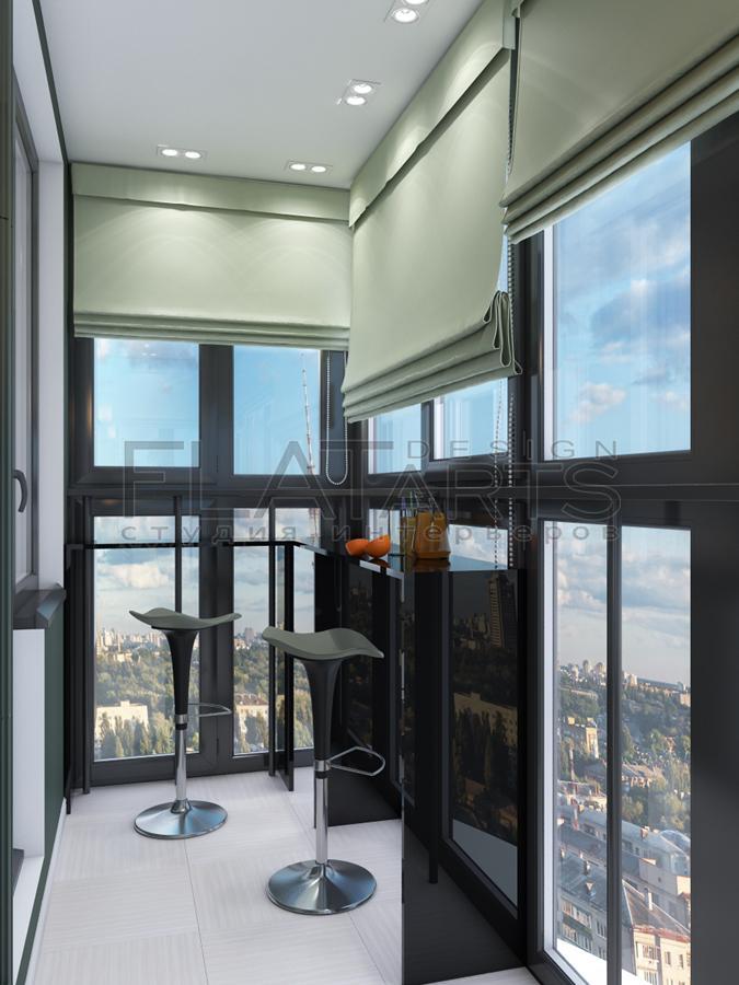 Дизайн кухни с балконом с панорамными окнами.
