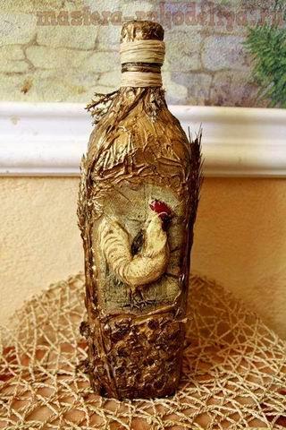 Мастер-класс по декупажу: Бутылка Деревенская