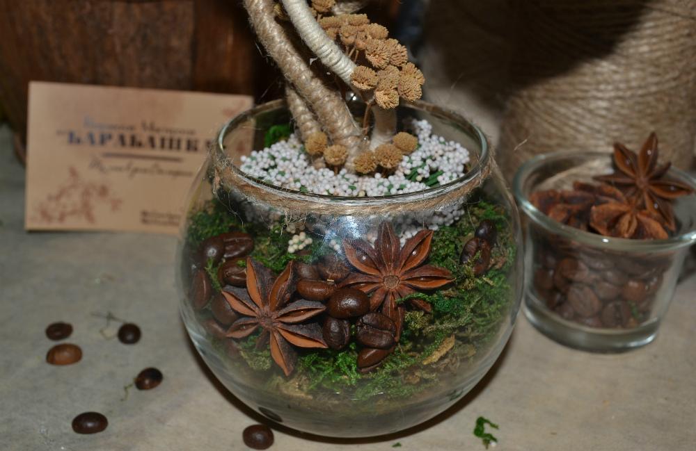 Кофейно-изумрудный топиарий из подручных материалов