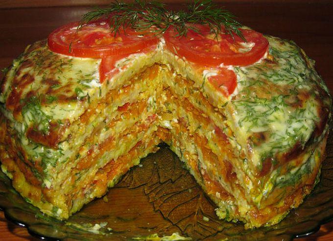 Пирог с кабачками. Овощный пирог. Овощной торт из кабачков