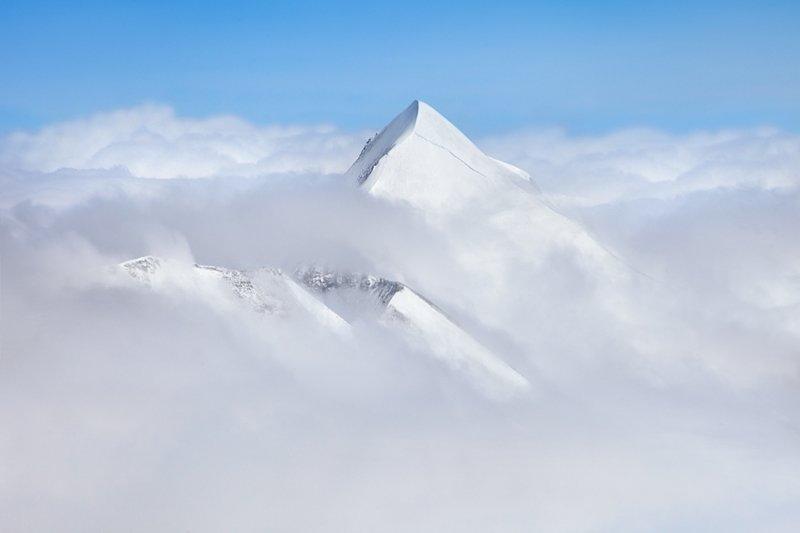 Снежная вершина горы Пуант де Ронс (3 612 метра), Франция горы, красиво, небо, облака, природа, творчество, фото, фотограф