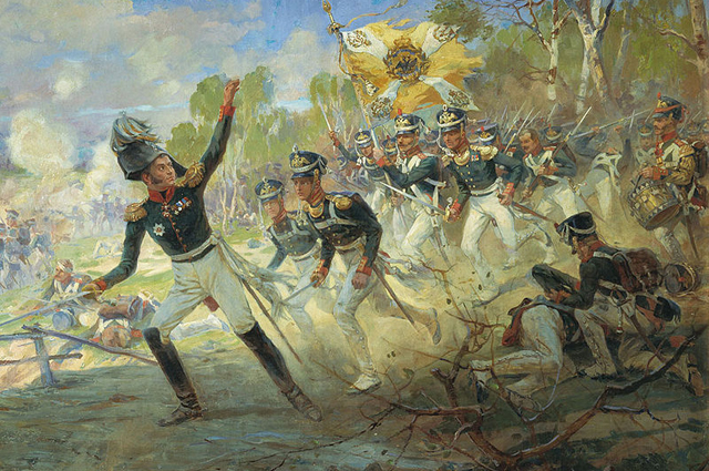 Подвиг солдат Раевского под Салтановкой.Н. С. Самокиш, 1812 г.