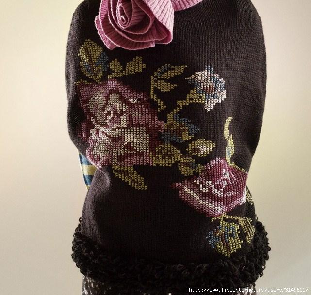 Объемная вышивка трикотажа