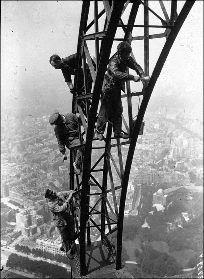 Покраска Эйфелевой башни, 1932 Историческая фотография, история, факты