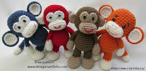 Вязаная обезьянка символ 2016 года. Описание