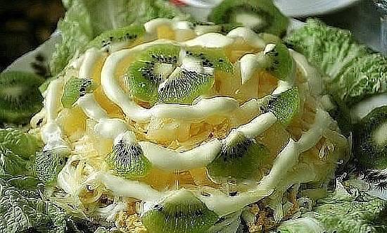 Салат из ананасов и киви рецепт с