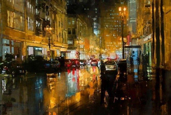 Не спящий город в масляной живописи Джереми Манна