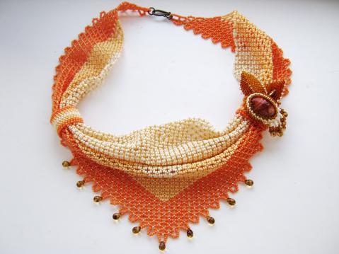 Вязание косынок из бисера