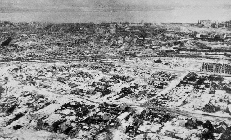 ID: 10632277 Описание: Советский Союз. Сталинград. Вид на город с самолета, 1943 год. Фотохроника ТАСС