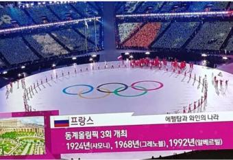 Корейское телевидение показало российский флаг во время трансляции открытия Олимпиады