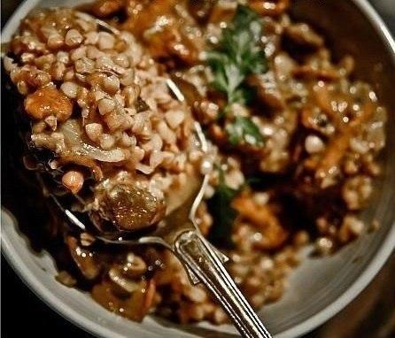 Гречка с мясом и грибами в пакете для запекания