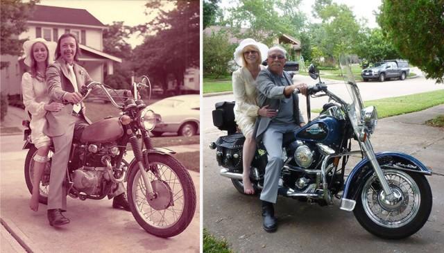 Семейная пара вновь воспроизвела свои старые фотографии 1975 года по случаю 40-летия свадьбы