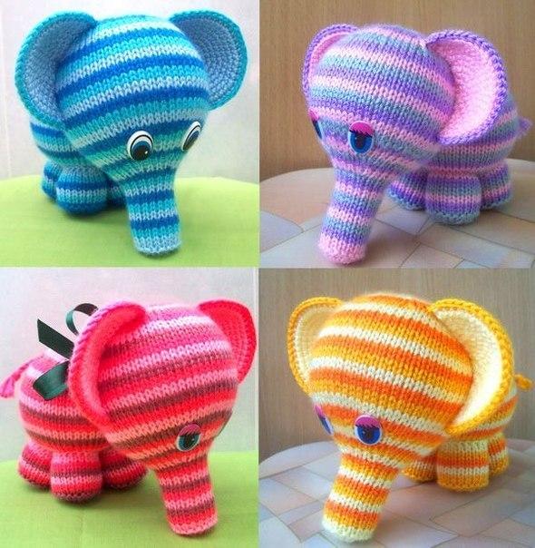 """Вязаная игрушка """"Радужный слоненок"""""""
