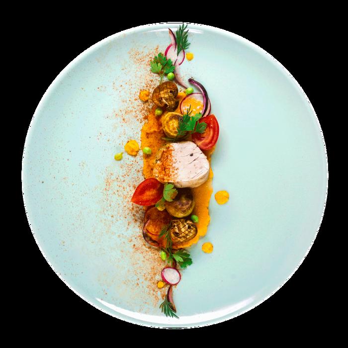 Рецепт свинины с морковным пюре и овощами