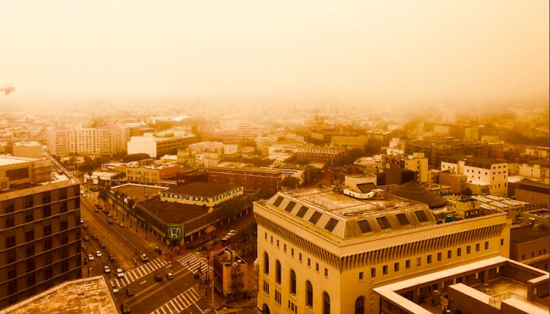 Бегущий по лезвию в Сан-Франциско: город, окутанный оранжевым дымом