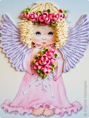 Картина, панно Квиллинг: Ангелочки Бумажные полосы День рождения. Фото 3