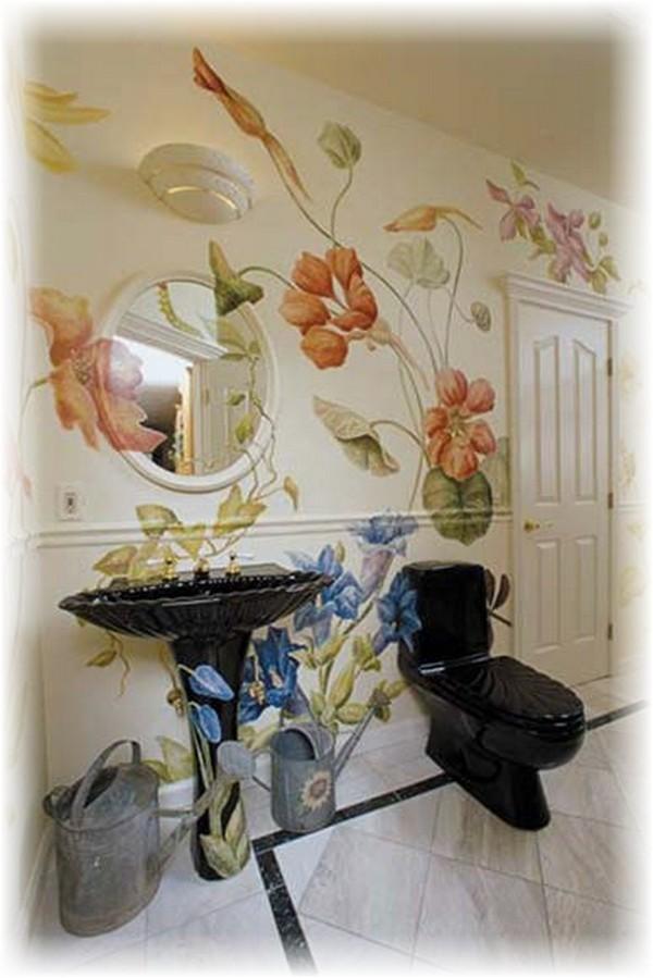Роспись стен своими руками ванная