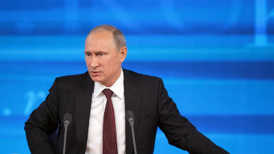 В Риге на выставке представили статую «распятого» Путина