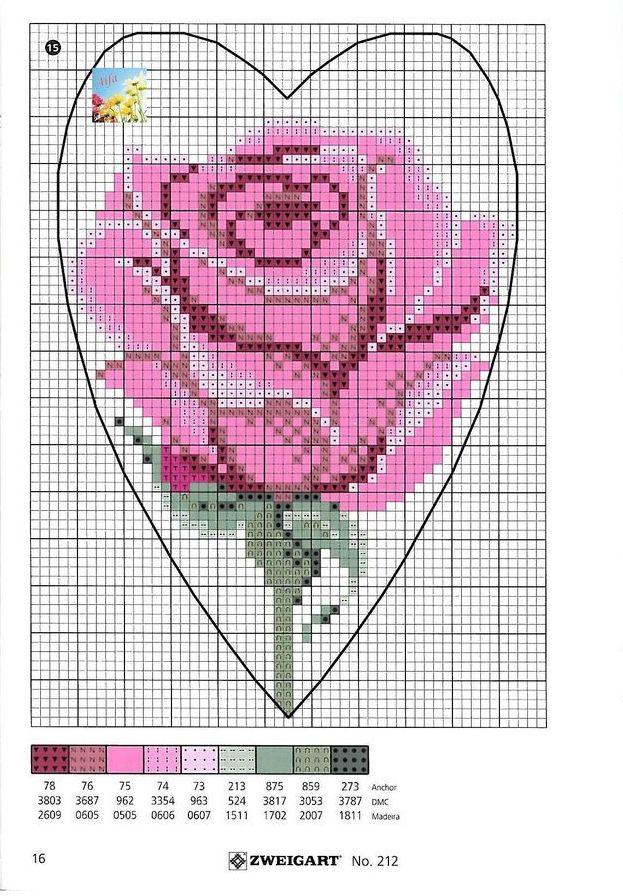 Вышивка крестом сердце из роз схемы 39