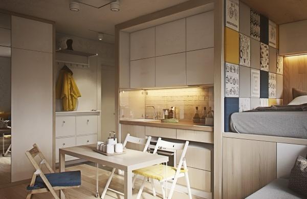 Модный дизайн однокомнатной квартиры 40 кв м - фото кухни и спальни
