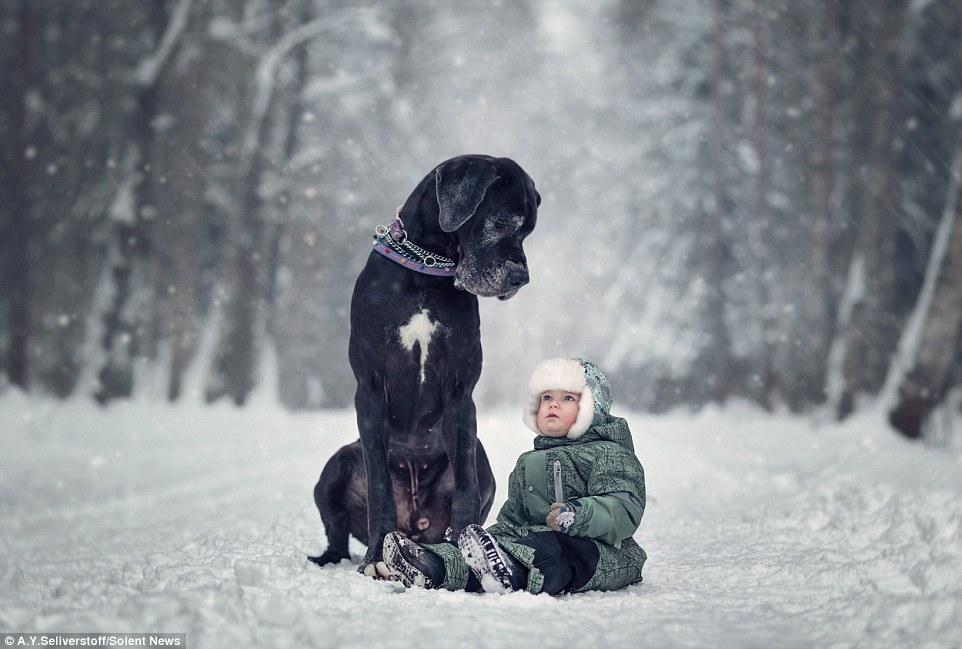 Маленькие дети Санкт-Петербурга и их огромные четвероногие друзья