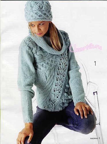 Голубой пуловер  и шапочка спицы+крючок
