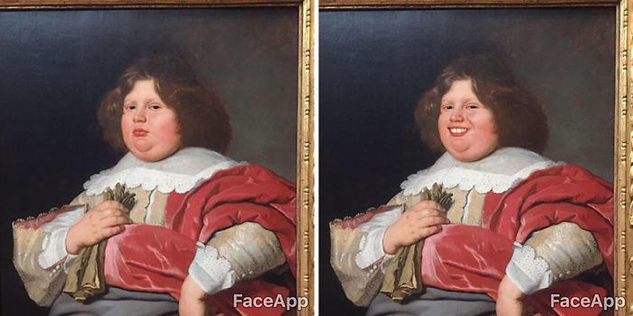 Guy Visits Museum But Finds Classical Art Characters Too Serious, Uses FaceApp To Make Them Smile