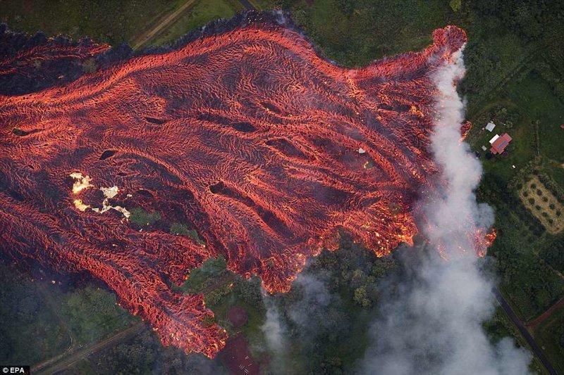 Аэросъемка последствий извержения вулкана Килауэа на Гавайях