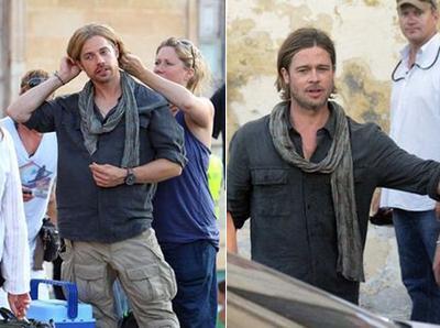 Брэд Питт (Brad Pitt) и его дублер-каскадер.