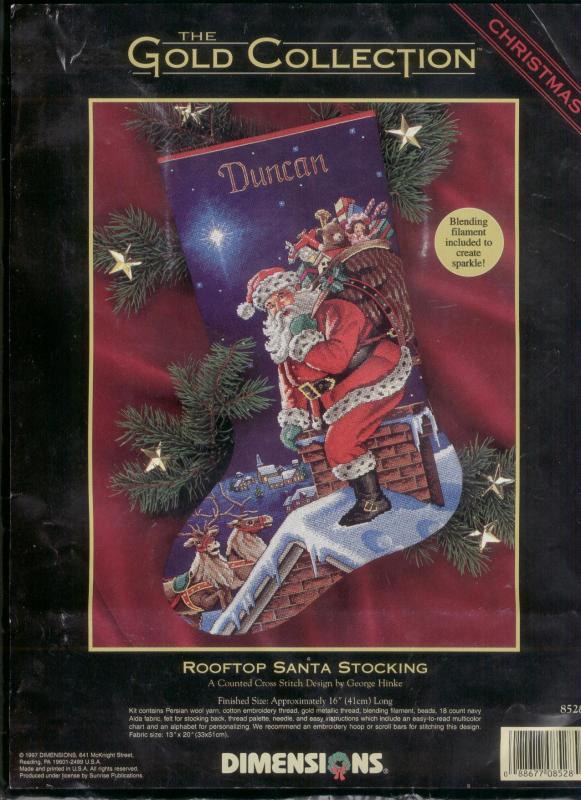 Rooftop Santa stocking (схема для вышивания)