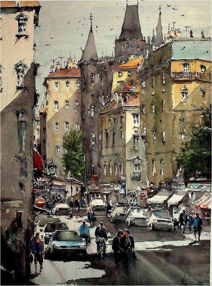 Акварели Maximilian Damico: городские пейзажи: my-fine.com/blog/43400242270/Akvareli-Maximilian-Damico:-gorodskie...