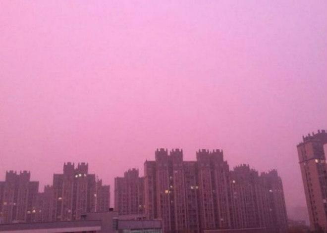 Смог в Китае: необычный фиол…