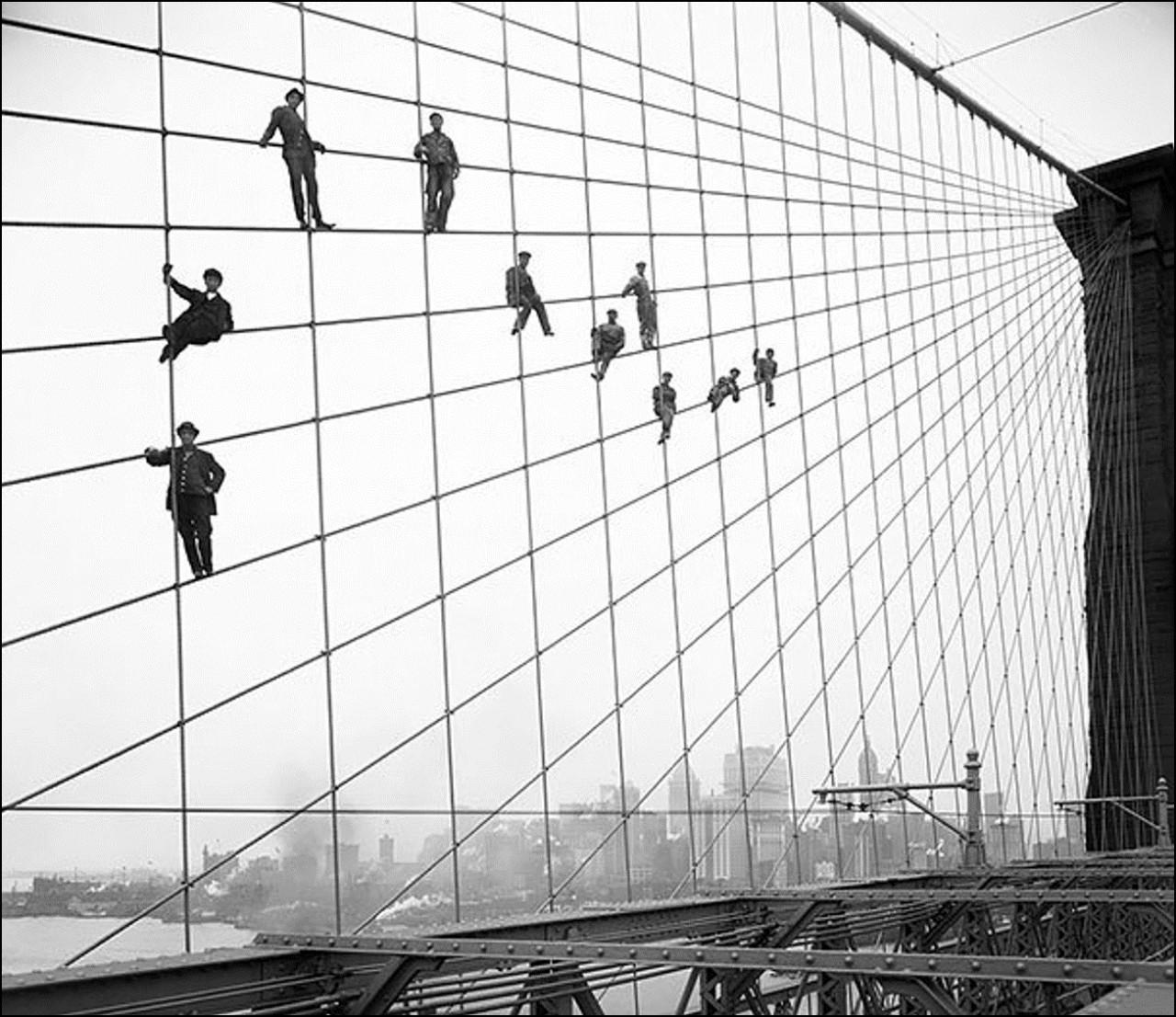 Покраска Бруклинского моста,1914 Историческая фотография, история, факты