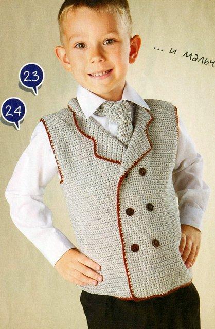 Вязаный жилет и вязаный галстук для мальчика 5-ти лет