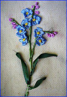 Урок по вышивке лентами.Цветок Незабудка