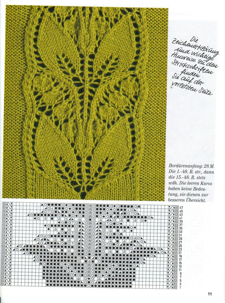 Вязание на спицах рисунок листьями 399