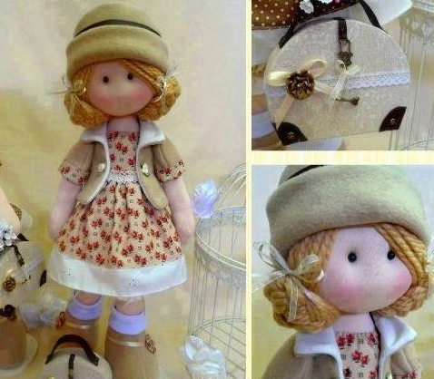 Vêtements de poupée à coudre et Diana dans un sac à main