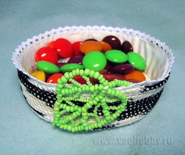 корзинка березовый весенний пень, с кружевом по краю и ажурным листиком из бисера