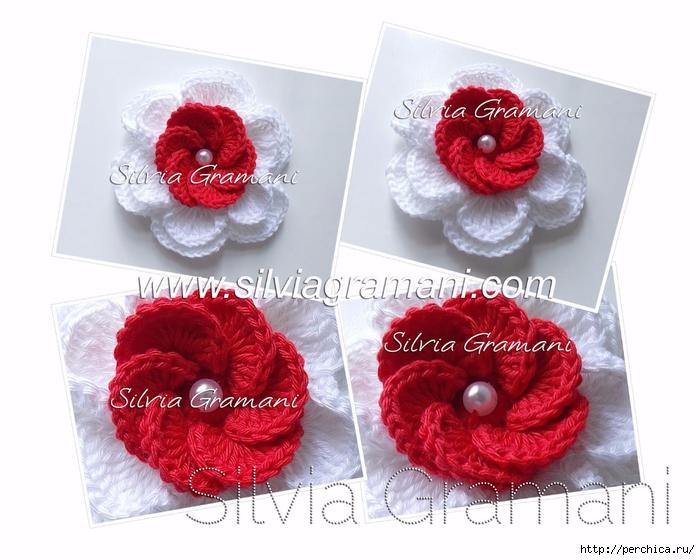 Silvia Gramani flor de croche vermelha e branca III (700x560, 242Kb)