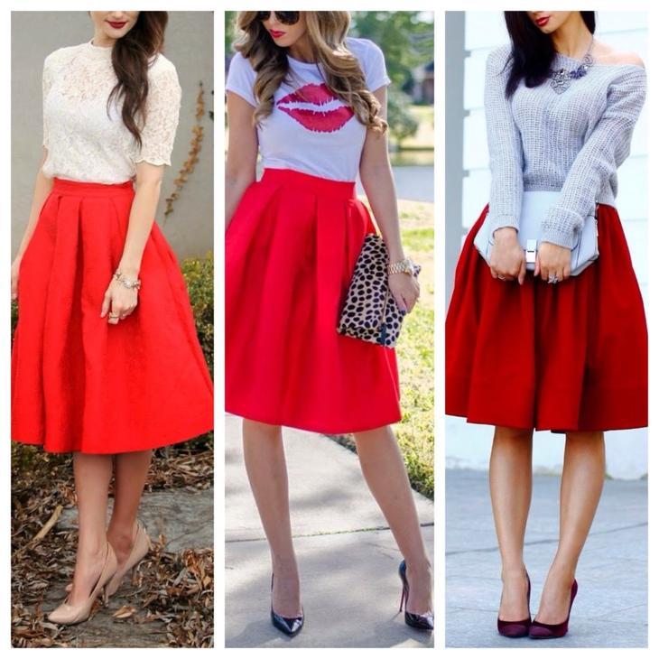 красные пышные юбки