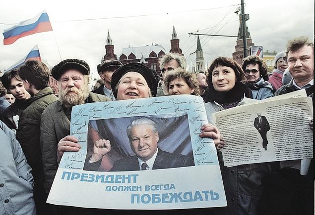 ...Но с первым выстрелом рейтинг Бориса Николаевича пополз вверх.