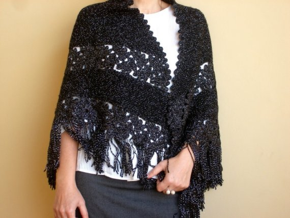 Shiny Black Womens Shawl , Hand Knitted and Crocheted