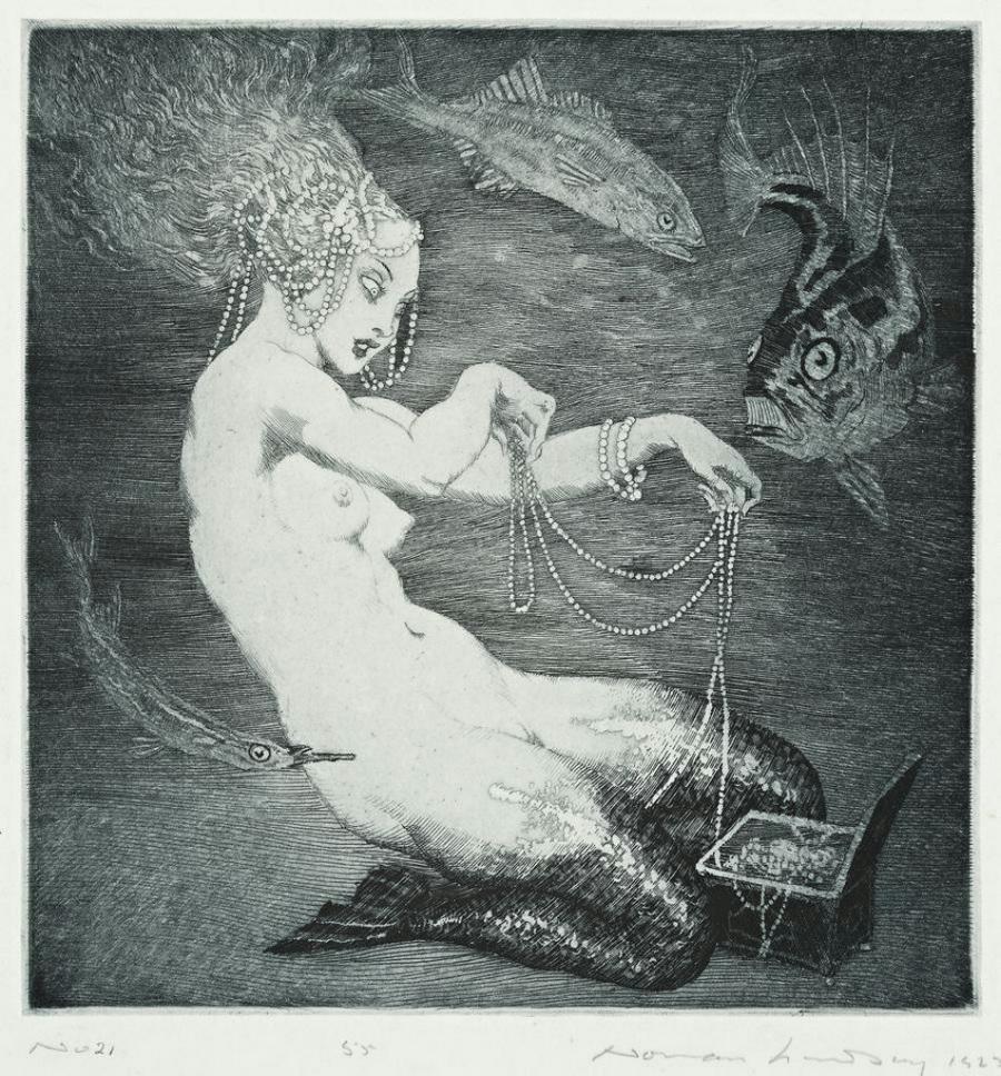 Прелестные нимфы, козлоногие обольстители и демоны в картинах Нормана Линдсея 15