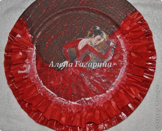 Декор предметов Мастер-класс Декупаж Тарелка Фламенко Бумага фото 21