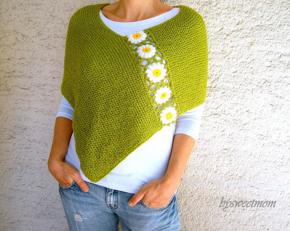 Green Poncho with Daisy Flowers, Hand Knit Womens Shawl Scarf