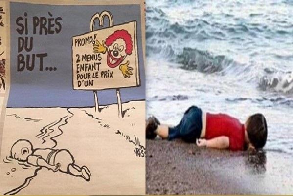 Charlie Hebdo вышел с карикатурами на утонувшего сирийского мальчика