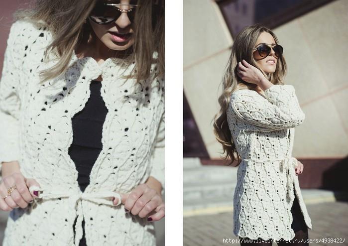 Пальто крючком от Полины Крайновой. Схема